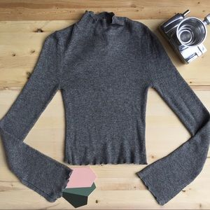Gray Lettuce Mock Neck Long Sleeve Top